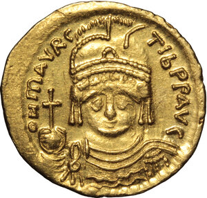 obverse: Maurice Tiberius (582-602).. AV Solidus, Constantinople mint, 583-602