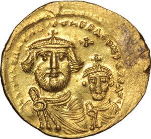 obverse: Heraclius, with Heraclius Constantine (610-641).. AV Solidus, Constantinople mint, 616-625