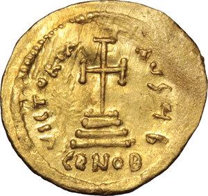 reverse: Heraclius, with Heraclius Constantine (610-641).. AV Solidus, Constantinople mint, 616-625