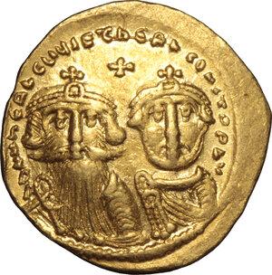 obverse: Heraclius, with Heraclius Constantine (610-641).. AV Solidus, Constantinople mint, 629-632