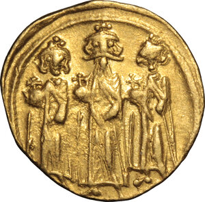 obverse: Heraclius, with Heraclius Constantine and Heraclonas (610-641).. AV Solidus, Constantinople mint, 638-641