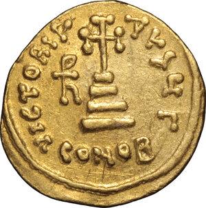 reverse: Heraclius, with Heraclius Constantine and Heraclonas (610-641).. AV Solidus, Constantinople mint, 638-641