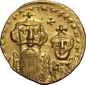 obverse: Constans II, with Constantine IV (641-668). . AV Solidus, Constantinople mint, 654-659