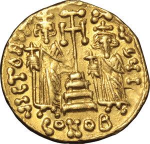 reverse: Constantine IV (668-685).. AV Solidus, Constantinople mint, 674-681