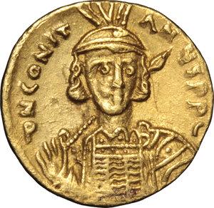 obverse: Constantine IV (668-685).. AV Solidus, Constantinople mint, 674-681