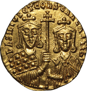 reverse: Basil I the Macedonian, with Constantine (868-879 AD).. AV Solidus, Constantinople mint, 868-879