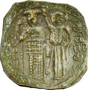 reverse: Manuel I Comnenus (1143-1180).. AE Aspron Trachy, Constantinople mint, 1143-1180