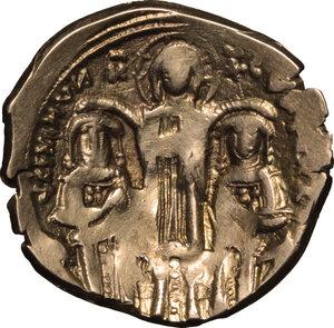 reverse: Andronicus II (1282-1328) with Michael IX (1295-1320).. AV Hyperperon nomisma, Constantinople mint, 1295-1320