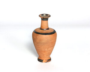 reverse: Greek lekythos decorated with black-glazed bands.  4th century BC.  10.5 cm high
