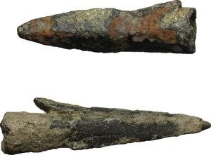 obverse: Lot of 2 bronze arrow-heads.  Greek, 550 - 250 BC.  28 mm, 24 mm