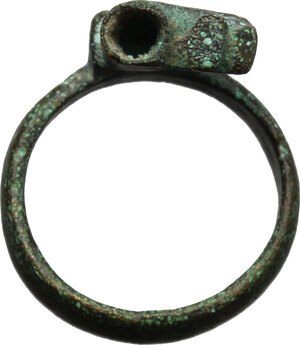 reverse: Bronze key-ring.  Roman Period, 1st-3rd century AD.  21 x 15 mm, size 15 mm