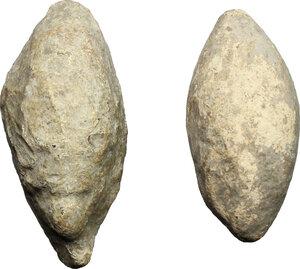 obverse: Lot of 2 lead slingshots.  Greek or Roman Period.  33 mm, 30 mm