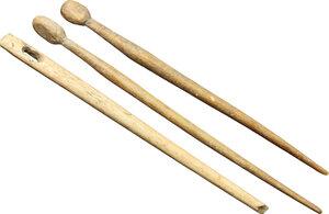 obverse: Lot of 3 bone utensils.  Roman period, 1st-3rd century AD.  115 mm, 95 mm, 95 mm