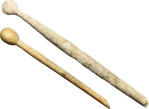 obverse: Lot of 2 bone utensils.  Roman period, 1st-3rd century AD.  108 mm, 82 mm
