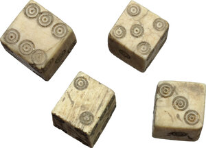 obverse: Lot of 4 bone dice.  Roman Period, 1st-3rd century AD.  10 mm side