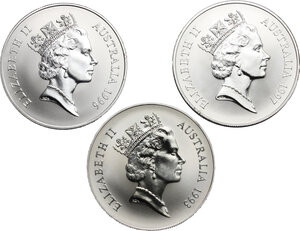 obverse: Australia.  Elizabeth II (1952-).. Lot of 3 AR 1 Dollar coins, 1993, 1996, 1997