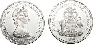 obverse: Bahamas.  Elizabeth II (1952-).. Lot of 2 AR 2 Dollar coins, 1972, 1974
