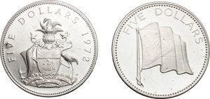 reverse: Bahamas.  Elizabeth II (1952-).. Lot of 2 AR 2 Dollar coins, 1972, 1974