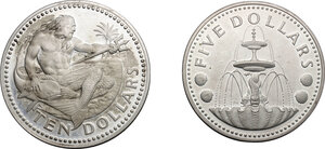 obverse: Barbados. Lot of 2 AR Coins, including: 10 Dollars 1973, 5 Dollars 1974