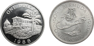 reverse: Bermuda. Lot of 2 AR coins, including: 1 Crown 1959 and 1 Dollar 1988
