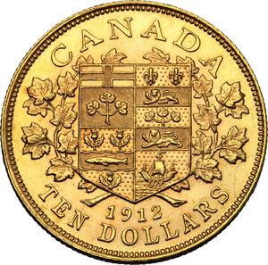 reverse: Canada.  George V (1910-1936). AV 10 Dollars 1912