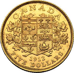 reverse: Canada.  George V (1910-1936). AV 5 Dollars 1912