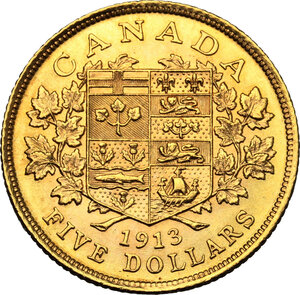 reverse: Canada.  George V (1910-1936). AV 5 Dollars 1913