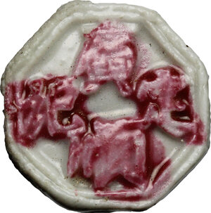 obverse: China. Porcelain gambling token in octogonal shape
