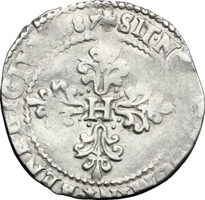 reverse: France.  Henry III (1574-1589).. AR 1/2 Franc 1587