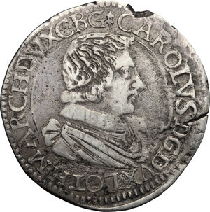 obverse: France.  Charles IV of Lorraine (1625-1675).. AR Testone, Nancy mint, 1629