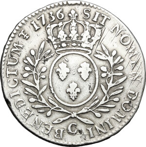 reverse: France.  Louis XV (1715-1774).. AR 1/2 Ecu 1736 C