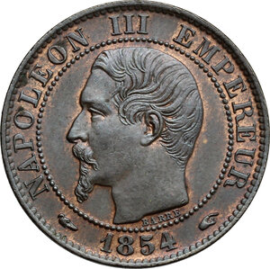 obverse: France.  Napoleon III (1852- 1870). AE 5 Francs, Paris mint, 1854