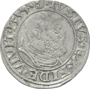 obverse: Germany.  Albert of Brandenburg-Ansbach (1525-1568).. AR Groschen, Prussia, 1554