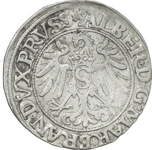 reverse: Germany.  Albert of Brandenburg-Ansbach (1525-1568).. AR Groschen, Prussia, 1554