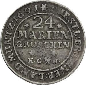 reverse: Germany.  Rudolf August (1666-1704). AR 24 Mariengroschen, Brunswich-Wolfenbuttel,  1691 HCH