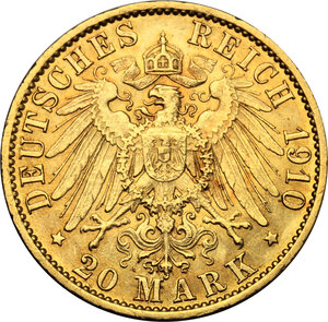 reverse: Germany.  Wilhelm II (1888-1918). 20 Marks, Prussia, 1910 A