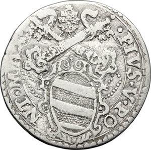obverse: Italy..  Pius V (1566 - 1572), Antonio Michele Ghislieri.. AR Testone, Ancona mint, 1566-1572