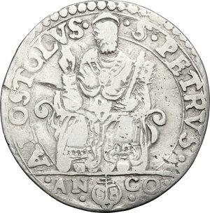 reverse: Italy..  Pius V (1566 - 1572), Antonio Michele Ghislieri.. AR Testone, Ancona mint, 1566-1572