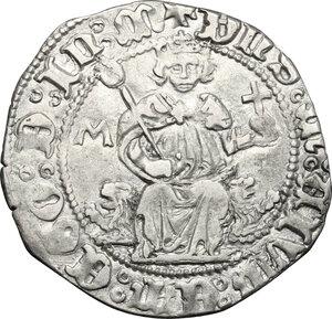 obverse: Italy..  Ferdinand I (1458-1462).. AR Carlino, Naples mint