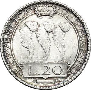 obverse: San Marino. AR 20 Lire, 1933