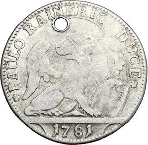 reverse: Italy .  Paolo Renier (1779-1789).. AR 1/4 Taler, Venice mint, 1781