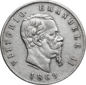 obverse: Italy..  Vittorio Emanuele II  (1861-1878). AR 5 Lire 1869, Milano mint