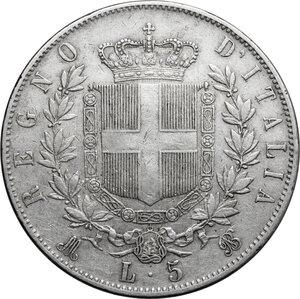 reverse: Italy..  Vittorio Emanuele II  (1861-1878). AR 5 Lire 1869, Milano mint