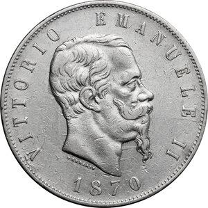 obverse: Italy..  Vittorio Emanuele II  (1861-1878). AR 5 Lire 1870, Milano mint
