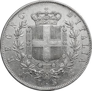 reverse: Italy..  Vittorio Emanuele II  (1861-1878). AR 5 Lire 1870, Milano mint
