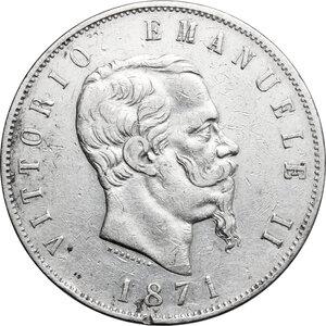 obverse: Italy..  Vittorio Emanuele II  (1861-1878). AR 5 Lire 1871, Milano mint