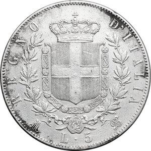 reverse: Italy..  Vittorio Emanuele II  (1861-1878). AR 5 Lire 1871, Milano mint