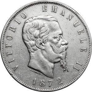 obverse: Italy..  Vittorio Emanuele II  (1861-1878). AR 5 Lire 1872, Milano mint