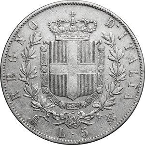 reverse: Italy..  Vittorio Emanuele II  (1861-1878). AR 5 Lire 1872, Milano mint