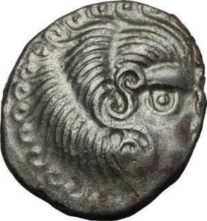 obverse: Northwest Gaul, Curiosolites. BI Stater, imitating Philip II of Macedon, c. 1st century BC